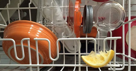 lemon wedge dishwasher trick
